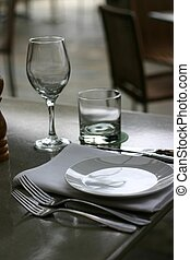 Place setting at restaurant dining table