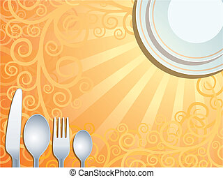 Place setting with plate, fork, spoon and knife