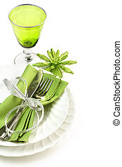 place setting - green and white dining set isolated on white...