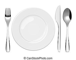 Vector illustration of utensils and porcelain plate