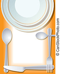 Place setting with plate, fork, spoon, knife
