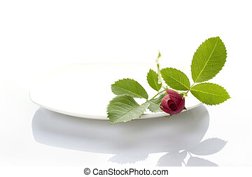 Place setting with rose - Close-up of a white plate on it is...