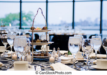 Elegant place settings at a formal banquet