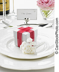 Place Settings For Bride And Groom At Reception