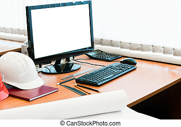 place travail, à, informatique, chapeau dur, et, projet,...