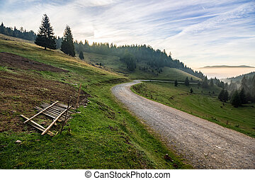 place where sheeps are shaved by the road in mountains at...