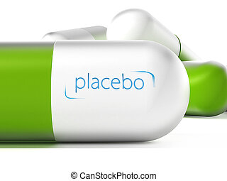 Placebo pill isolated on white background. 3D illustration