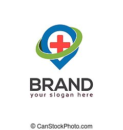 Placeholder and plus sign. Flat logo design