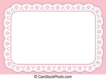 placemat, ilhó, pastel, renda, cor-de-rosa