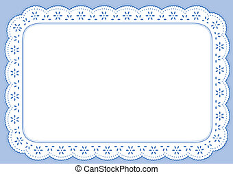 Decorative pastel blue eyelet lace placemat for home decorating, setting table, arts, crafts, scrap books, backgrounds, cake decorating. EPS8 compatible.