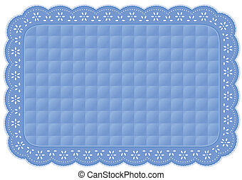 Placemat Quilted Pastel Eyelet Lace - Decorative pastel blue...