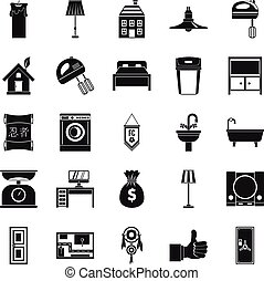 Placement icons set, simple style