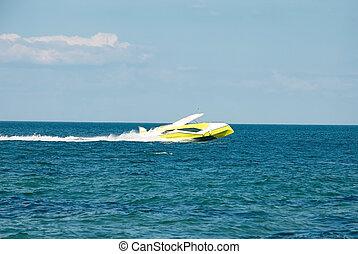placer, amarillo, privado, barco