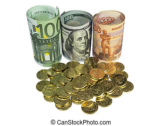 Placer coins on background of banknotes.