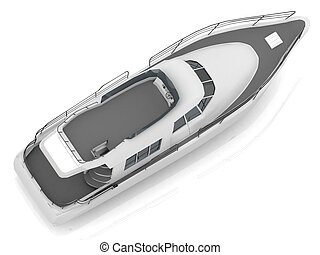 placer, diagonalmente, motorizado, barco, localizado