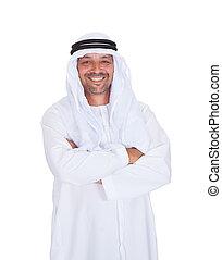 placer partout, bras, arabe, traversé, fond, sourire, blanc, homme
