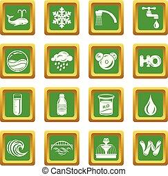 placer place, icônes, eau, vecteur, vert