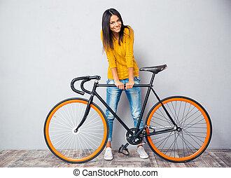 placer, sourire, femme, vélo
