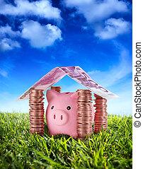 placera, din, besparingar, kassaskåp, -, besparingar