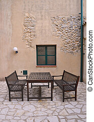 placerande, utomhus, terrassera, uteplats
