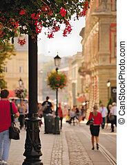 Daytime street in the city of Lviv, Ukraine
