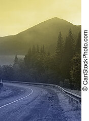 places - mountain road in the Carpathians. turn in the road