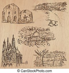 places., pack., vecteur, architecture, célèbre