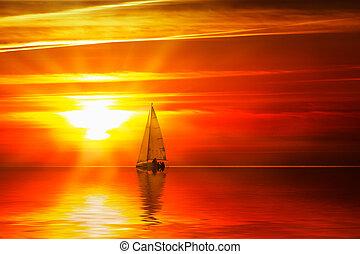 plachtenice, dále, ta, oceán, v, západ slunce