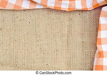 plachtoví, kostkovaný, -, nad, přivinout, pomeranč, selský, ubrus, konstrukce