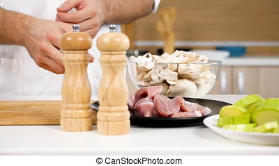 Placing a piece of pork raw meat on wooden board - Slow...