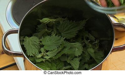 Placing Leafy Greens into Large Pot - Handheld, close up...