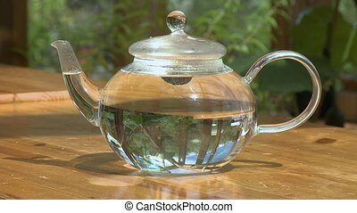 Placing Lid on Glass Teapot