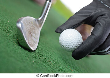 placing the golf ball