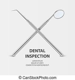plackard., blanc, conception, gabarit, arrière-plan., sonde, bannière, réaliste, inspection, tool., miroir, dentaire, closeup, dents, dentiste, vecteur, 3d, monde médical