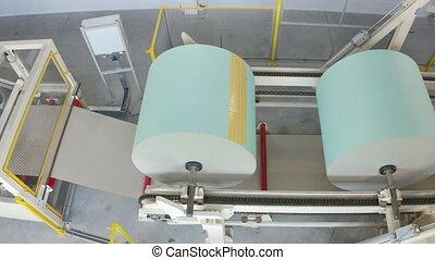 placoplâtre, couvre papier, rouleau, convoyeur, plant., usine, drywall, fabrication, rotation