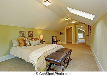 plafon, boltíves, fiatalúr, tetőablak, hálószoba, tágas