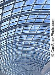 plafon, függőleges, kép, modern, pohár, építészet, részletek