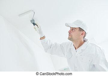 plafon, fedő, festőhenger, fehér, painting., szobafestő