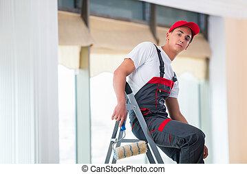 plafon, fogalom, fiatal, szerkesztés, festmény, szobafestő
