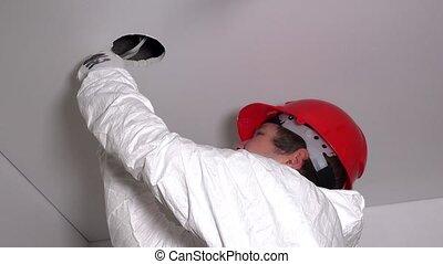 plafond, électricien, découpage, trou, placoplâtre, type