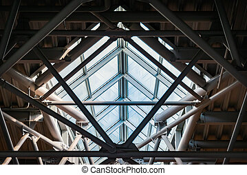 plafond, balken, moderne, metaal, glas, luchthaven.
