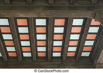 plafond, beamed, gekleurde