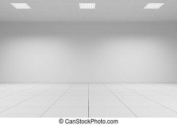 plafond, blanche salle, bureau, carrelé