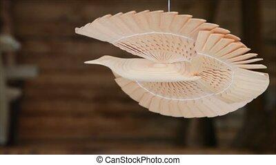plafond, bonheur, fil, pend, bois, sous, russe, fait, oiseau