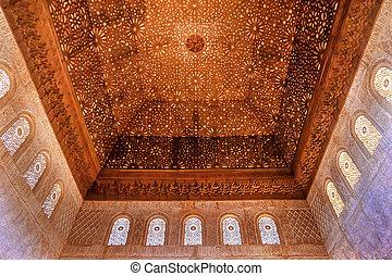 plafond, carrée, g, formé, mur, maure, alhambra, conceptions, bombé, voûte