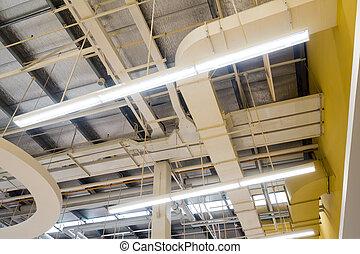 plafond, communication, canaux transmission, système, air, conduits, lampes, monté