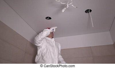 plafond, coupure, échelle, ouvrier, construction, montée, mâle, trou, placoplâtre