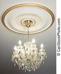 plafond, elektrisch, groot, dons, kroonluchter, hangend