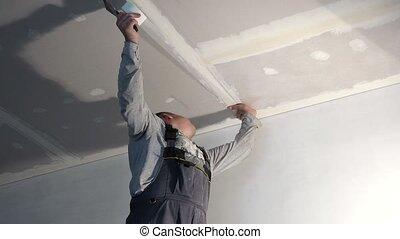 plafond, fibre, verre, ouvrier, jointure, bande, colle, placoplâtre