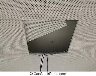 plafond, fils, électrique